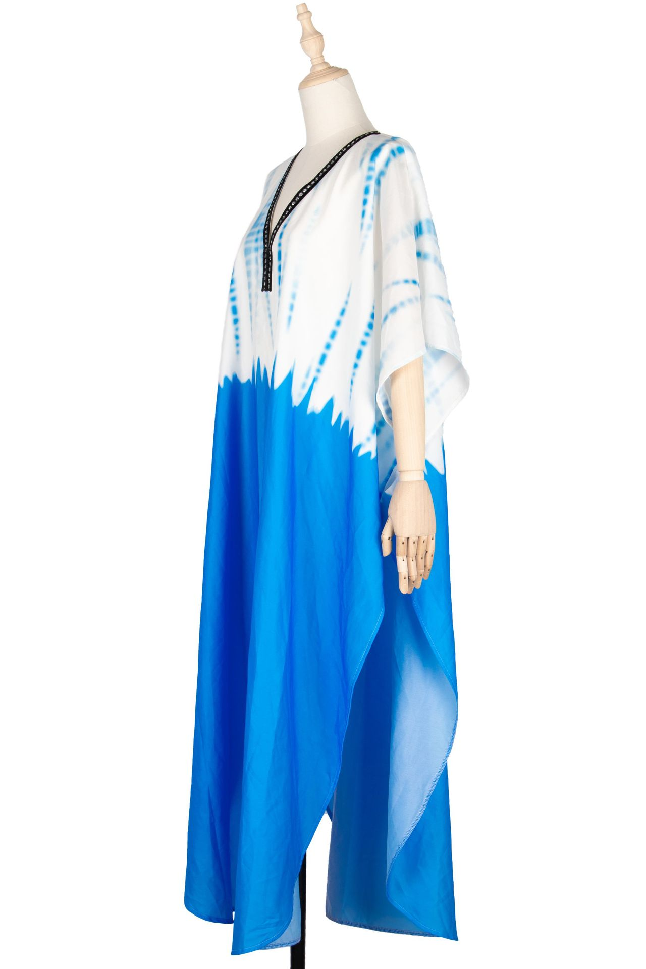 Bat sleeve new dress large size spring and summer robe blue NHDF204858