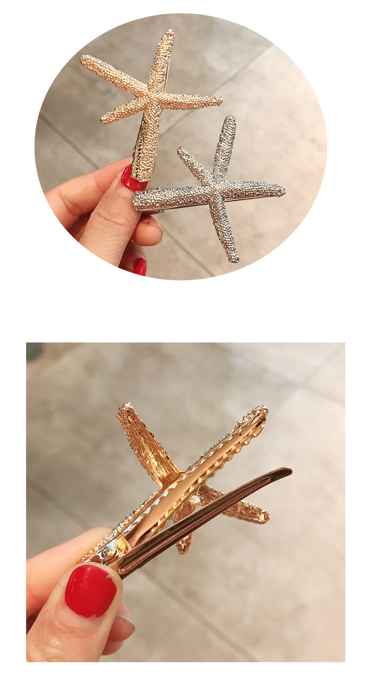 Simple metal starfish duckbill clip hair clip Korean headdress girl bangs clip side clip hairpin  wholesale nihaojewelry NHDQ221339