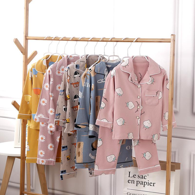 2021新款儿童春秋棉质家居服中童睡衣睡裤套装大童对开休闲两件套