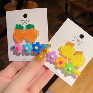 Korean version of simple headdress small fresh and cute fruit hairpin candy color wild acrylic pineapple BB clip side clip
