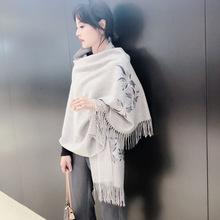 围巾女冬季百搭加厚保暖围脖秋季外搭两用中年妈妈款绣花旗袍披肩