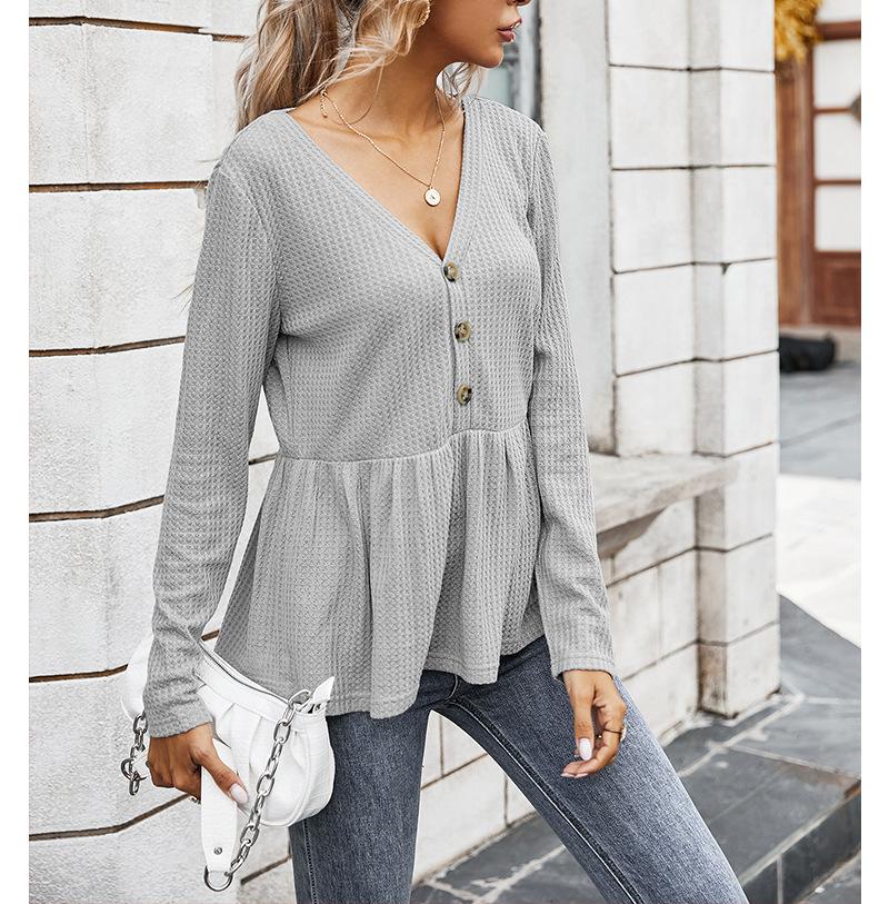 autumn women's new tops V-neck simple loose T-shirt  NSKA205