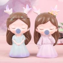 新款泡泡鹿公主树脂摆件创意卡通可爱家居装饰女生生日情侣礼物