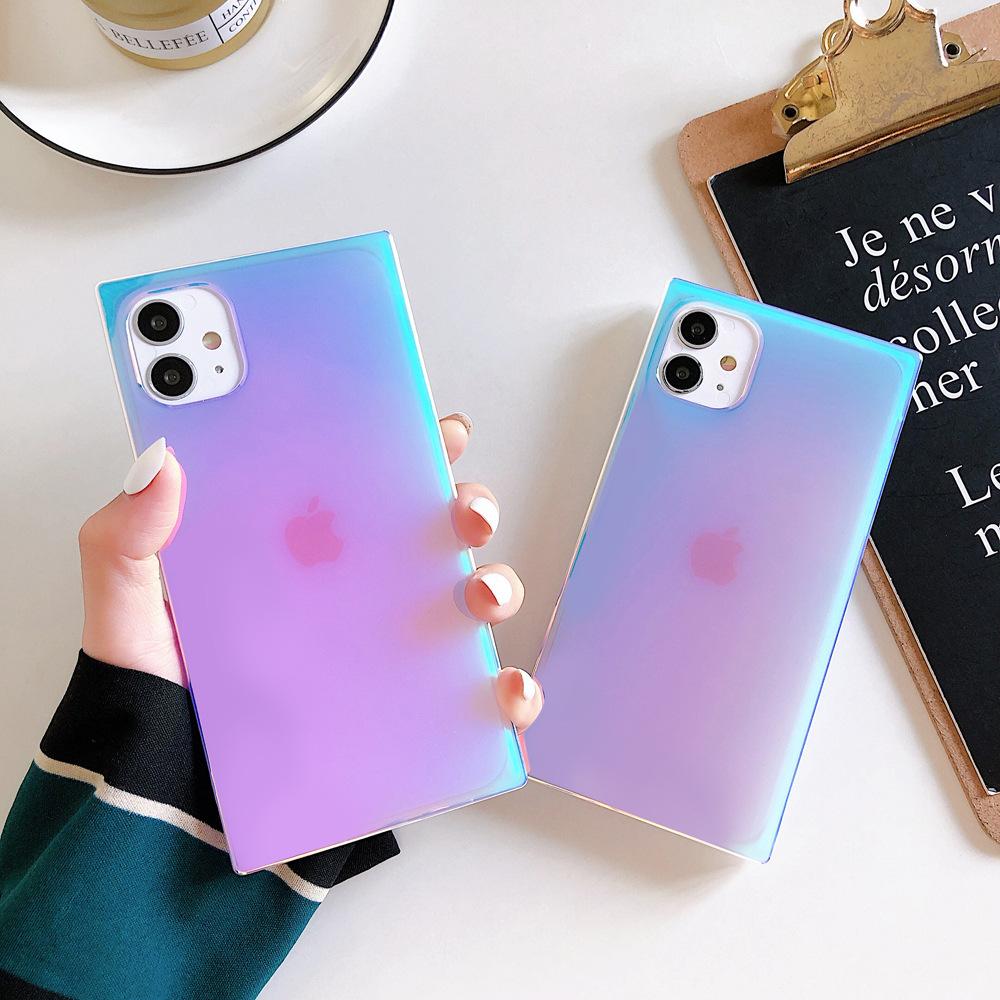 适用iphone12方形紫光镭射手机壳苹果se透明IMD软壳时尚xsmax防摔