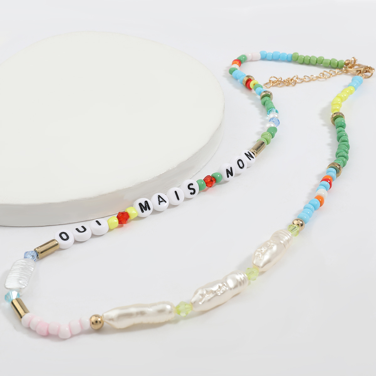Fashion new pearl resin English letters hip-hop women's necklace NHJE256121