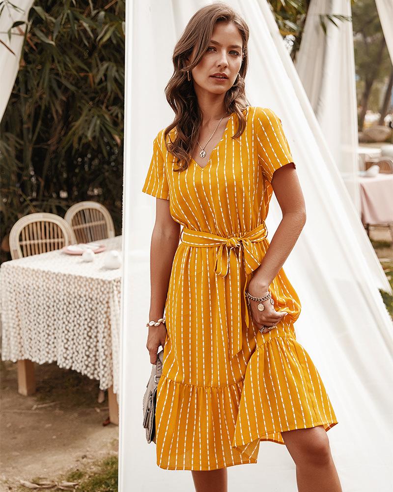 fashion women's V-neck sexy temperament striped dress  NSKA1034