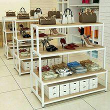箱包货架中岛柜鞋店鞋架化妆品展示柜高低货架超市台收纳柜