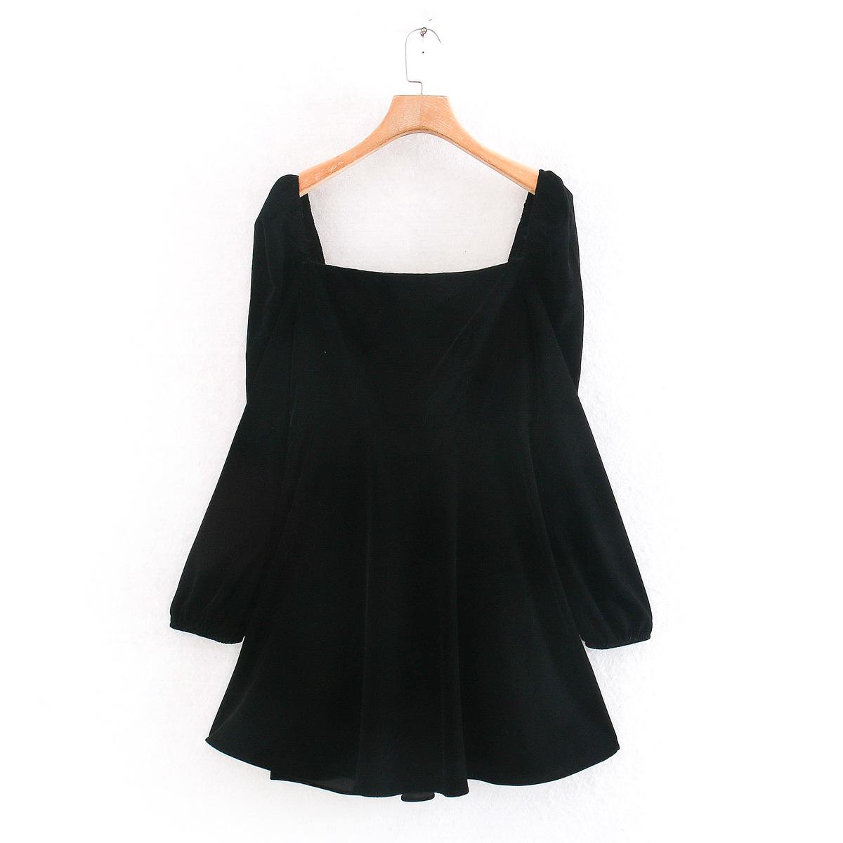 Wholesale Spring Velvet Mini Long Sleeve Dress NHAM196361