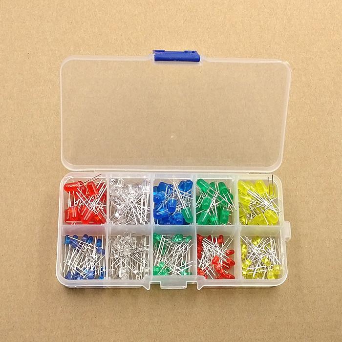发光二极管盒装3MM 5MM 5色共100个LED灯珠红绿蓝黄白光LED元件盒