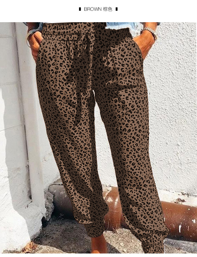 high waist printing loose cropped trousers feet pants NSSI2982