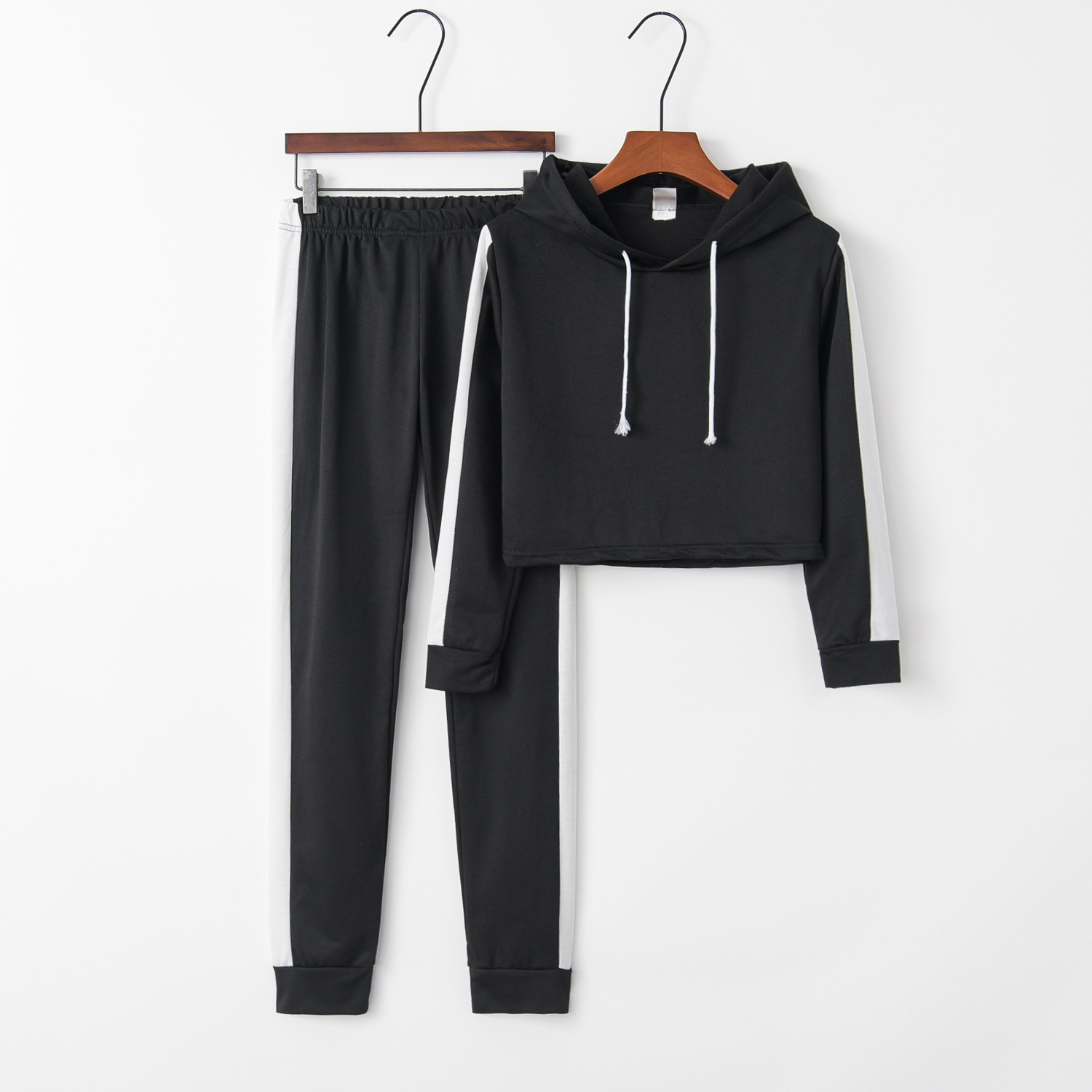 women's hooded long sleeve color matching casual sports suit NSYF1823