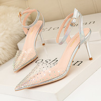 899-35 European and American wind light contracted pointed mouth high-heeled shoes transparent diamond one word with fine with hollow out sandals for women's shoes