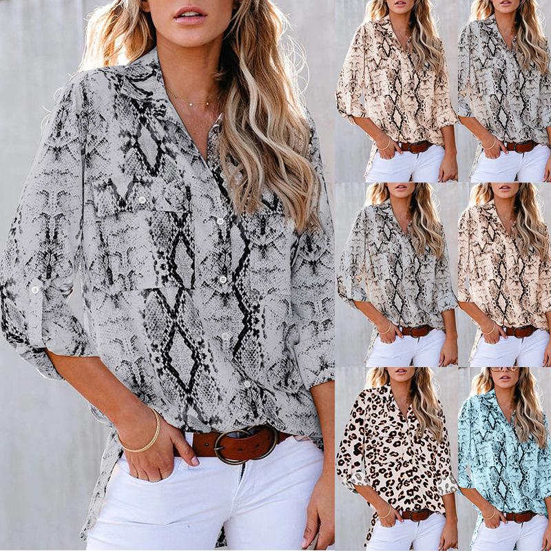leopard print three-quarter sleeve loose casual shirt NSKX5908
