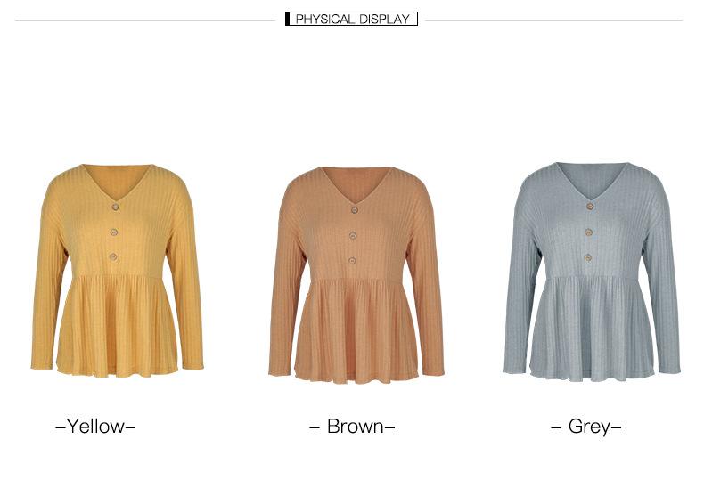 winter women's new tops hot style V-neck simple loose T-shirt  NSKA197