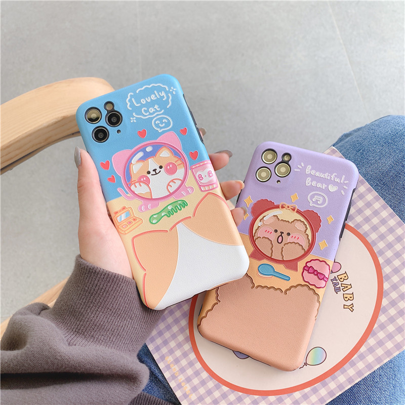 Cute Makeup Kitty Bear iPhone 11Promax Mobile Shell 7plus Soft Case for XS Max XR Silicone phone case wholesale nihaojewelry NHFI220730