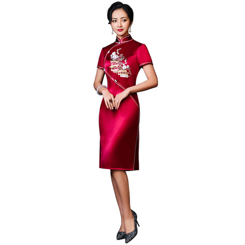Traditional Chinese Dress Qipao Dresses for Women Embroidered long banquet wedding banquet large Qipao skirt dress