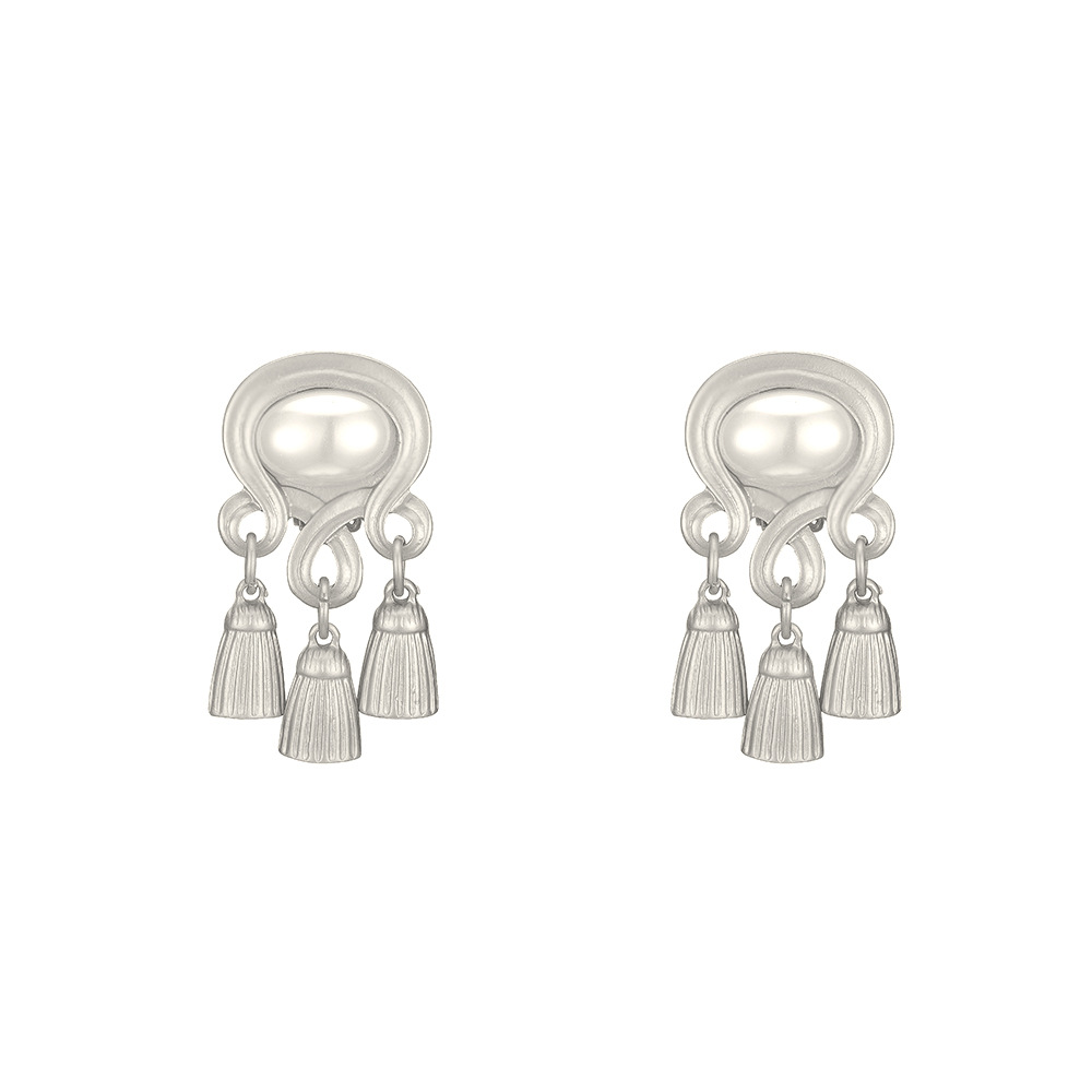 new silver needle baroque style pearl earrings long life lock tassel earrings wholesale nihaojewelry NHOA237163