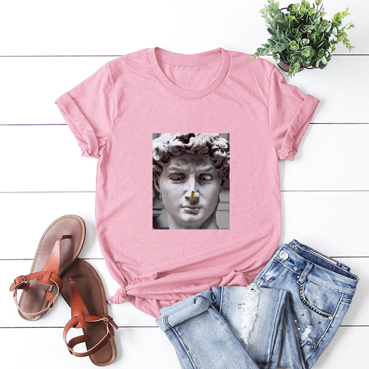 casual funny famous painting short-sleeved T-shirt NSSN1799