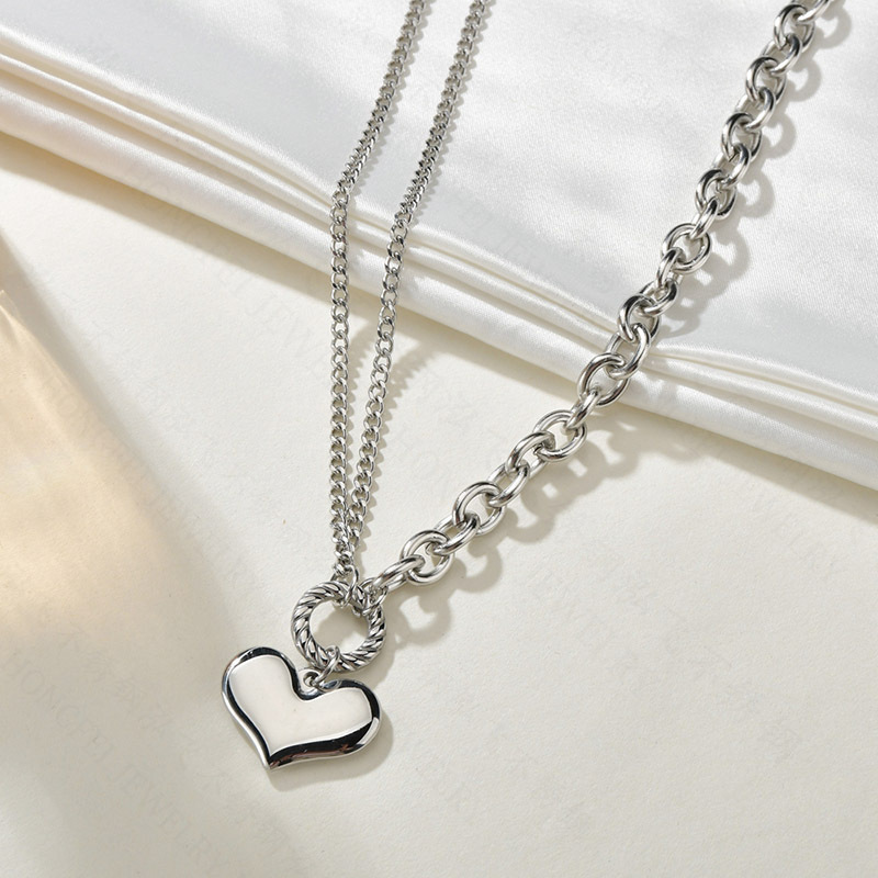 heartshaped stainless steel love hot sale simple clavicle chain necklace for women NHHF244310
