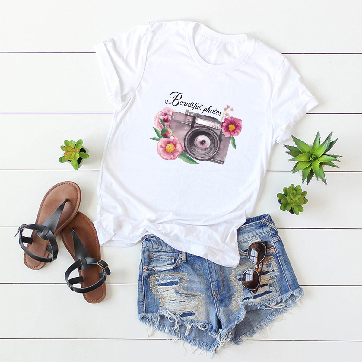 hot Slim Comfortable Casual Large Size Short Sleeve Women's T-shirt NSSN878