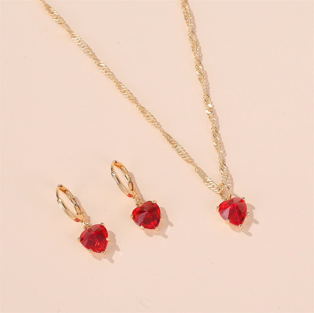 hot sale set jewelry temperament classic crystal zircon love necklace earrings wedding dinner accessories wholesale nihaojewelry NHDP219996