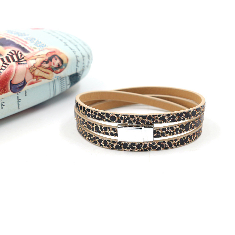 Multi-layer leopard dot PU leather bracelet bracelet magnetic buckle leather bracelet women NHHM205862