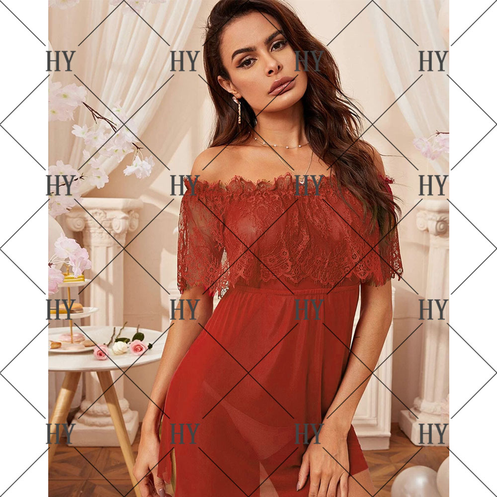 large size sexy one-shoulder mesh perspective nightdress NSYO9770