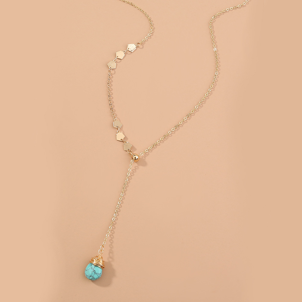 Fashion stretchable handmade Yshaped long necklace  NHAN359951