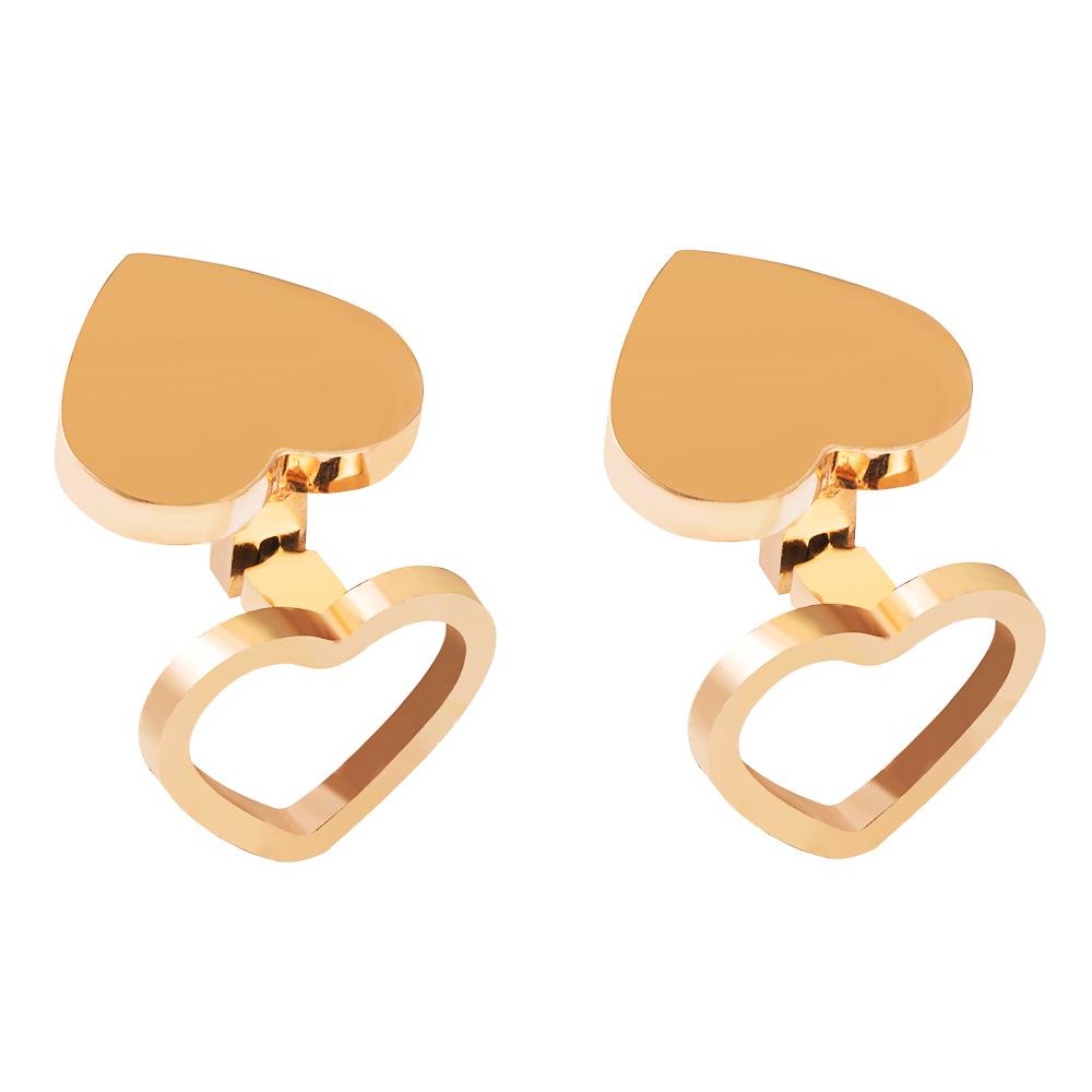 Simple and cute girl heart earrings titanium steel plated rose gold heart-shaped earrings wholesale nihaojewelry NHLN214432