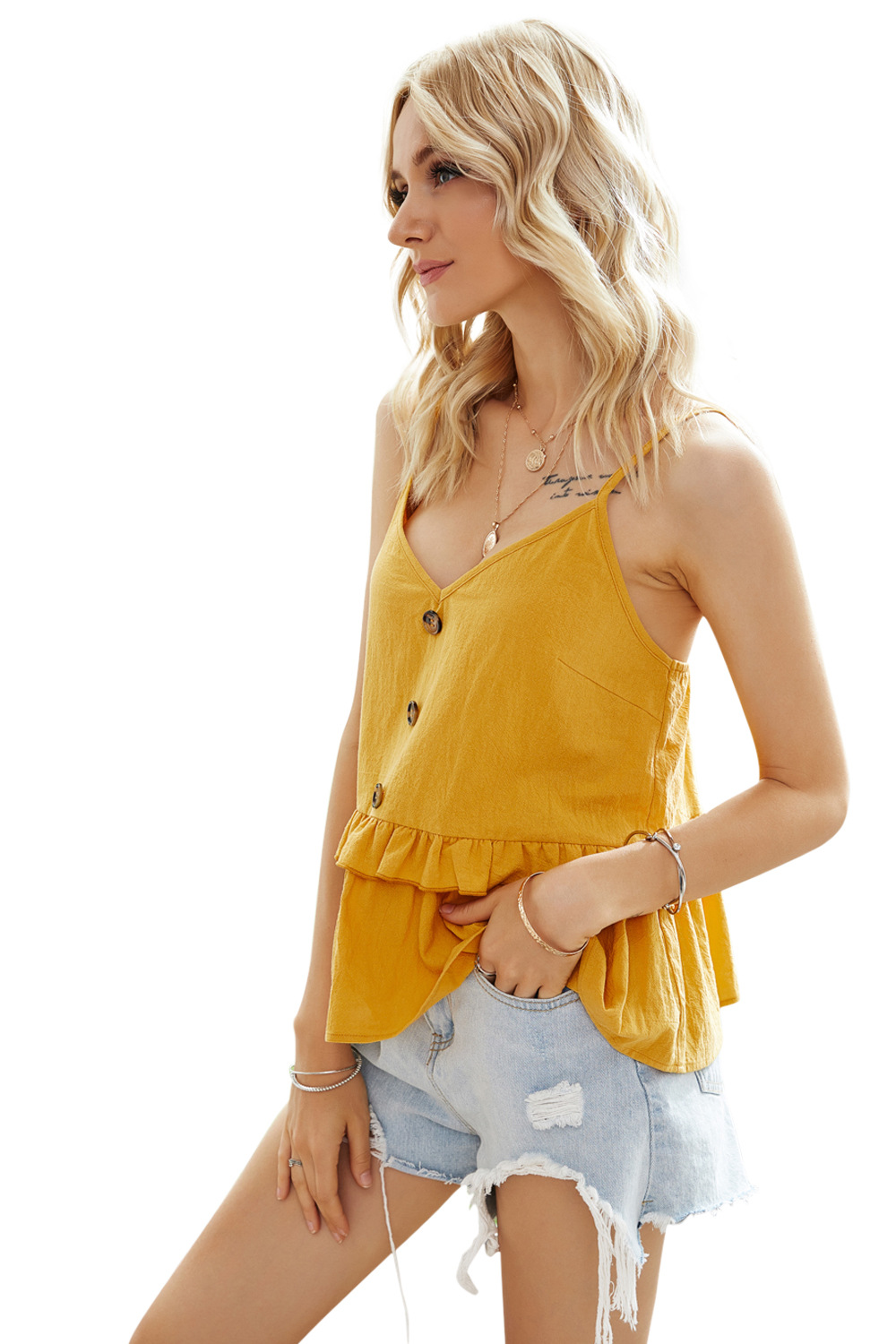 summer new hedging fashion loose sexy yellow single-breasted lanyard white small sling wholesale NSDF113