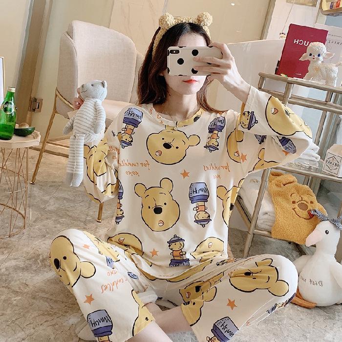 外贸新款秋季睡衣女卡通宽松长袖套装卡通印花休闲韩版家居服批发