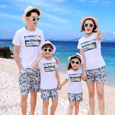 纯棉一家四口套装母女母子装度假旅游装沙滩亲情夏款沙滩亲子装