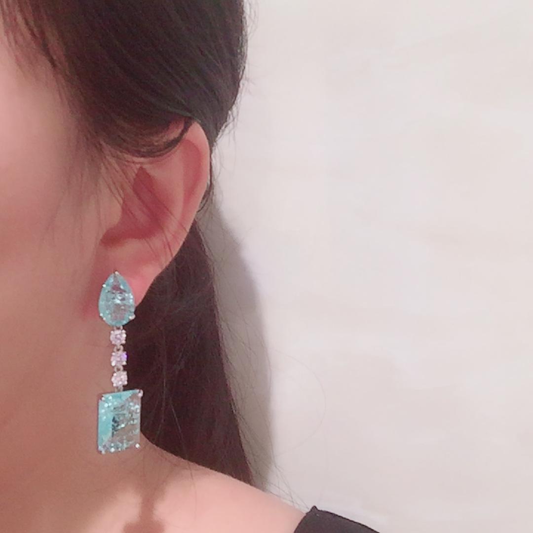 Green water drop earrings fresh summer temperament S925 silver needle long tassel super flash crack crystal earrings NHWK217532