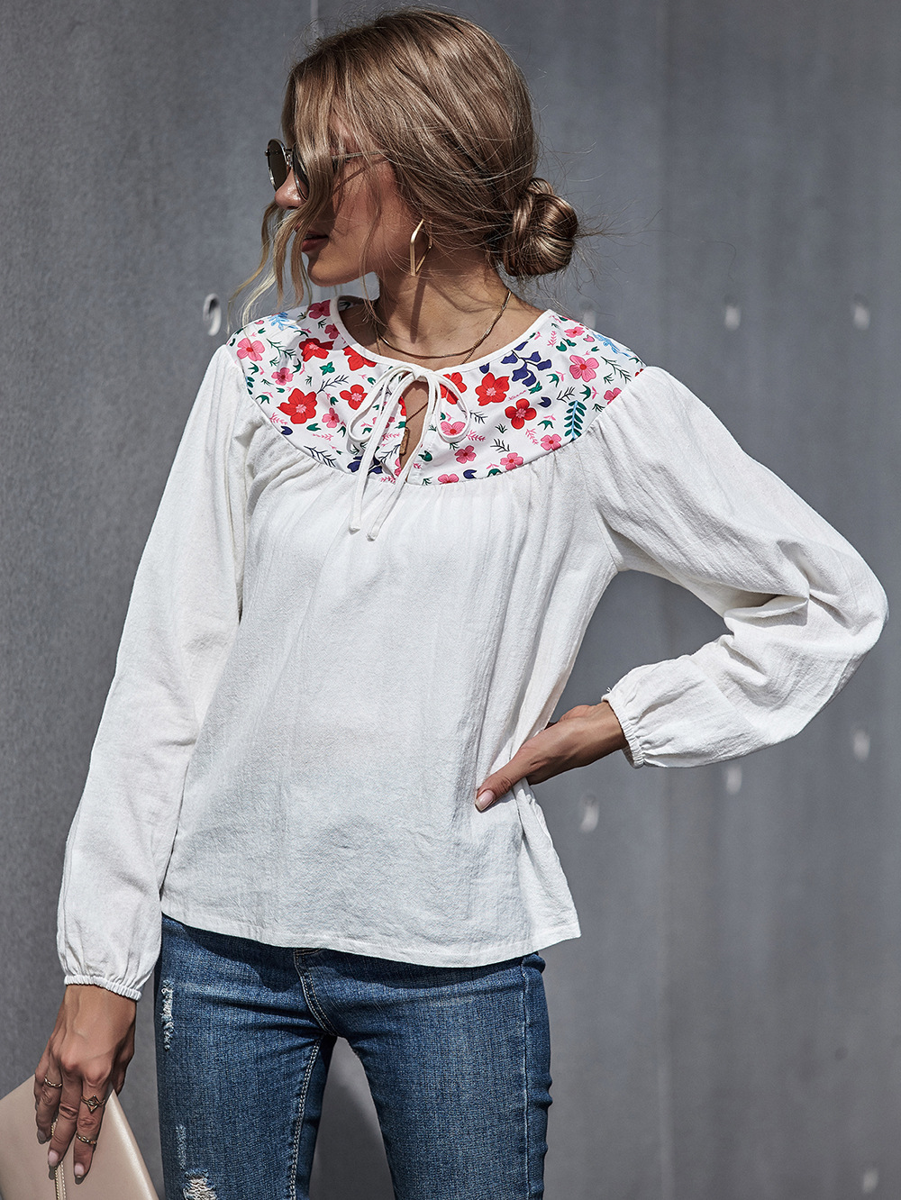 autumn and winter cotton and linen embroidery slim top linen retro long-sleeved shirt NSDF338