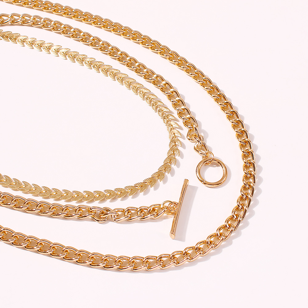 hot sale hip-hop necklace jewelry creative golden chain necklace sweater chain wholesale nihaojewelry NHMD231878