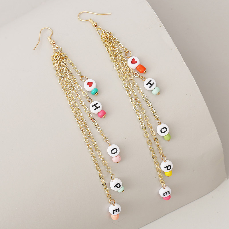 long HOPE letter rice beads tassel earrings earring chain earrings for women NHLA238447