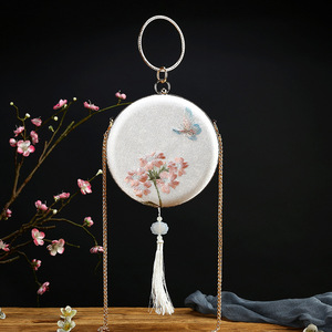 Hanfu Qipao embroidered bag ancient bag national small round bag versatile one shoulder hand embroidered mouth gold bag