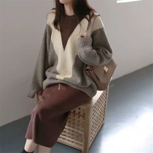 Sweater women Korean style lazy autumn and winter outer wear 2020 new loose outer wear long-sleeved round neck pullover sweater women