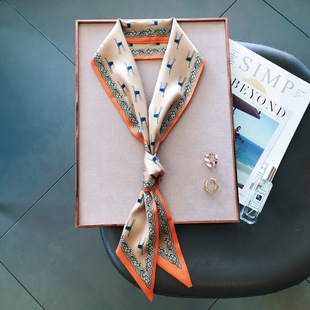 Korean version of the slender temperament small scarf silk scarf ladies streamers new double-sided streamers spring and autumn accessories customization