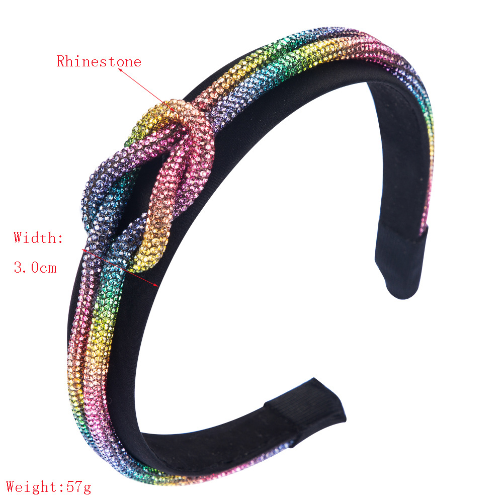 Fashion hair hoop female colored rhinestone knotted wide-edge Korean headband NHLN205131