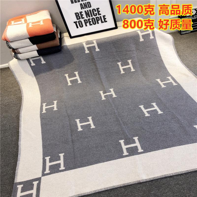 H家羊绒羊毛毯子沙发单人被子夏季薄款办公室毛巾被午睡空调盖毯