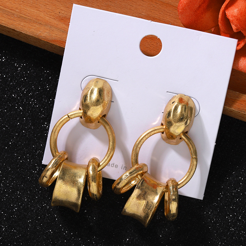 New fashion simple ring earrings alloy plating earrings wholesale NHJQ203650