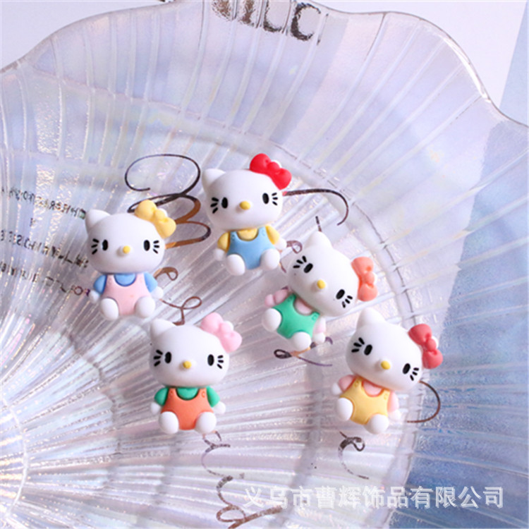 Cute full-body cat DIY jewelry accessories hair tie hairpin handmade material mobile phone case storage box resin patch