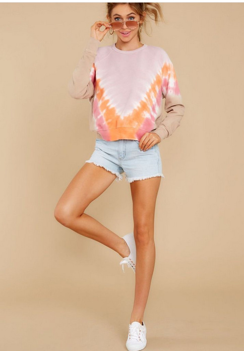 Spring and summer 2020 new European and American home casual wear long sleeve sweater summer Amazon printing long sleeve home leisure