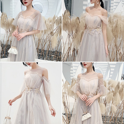 Bridesmaid Dress grey long wedding dress covering arms