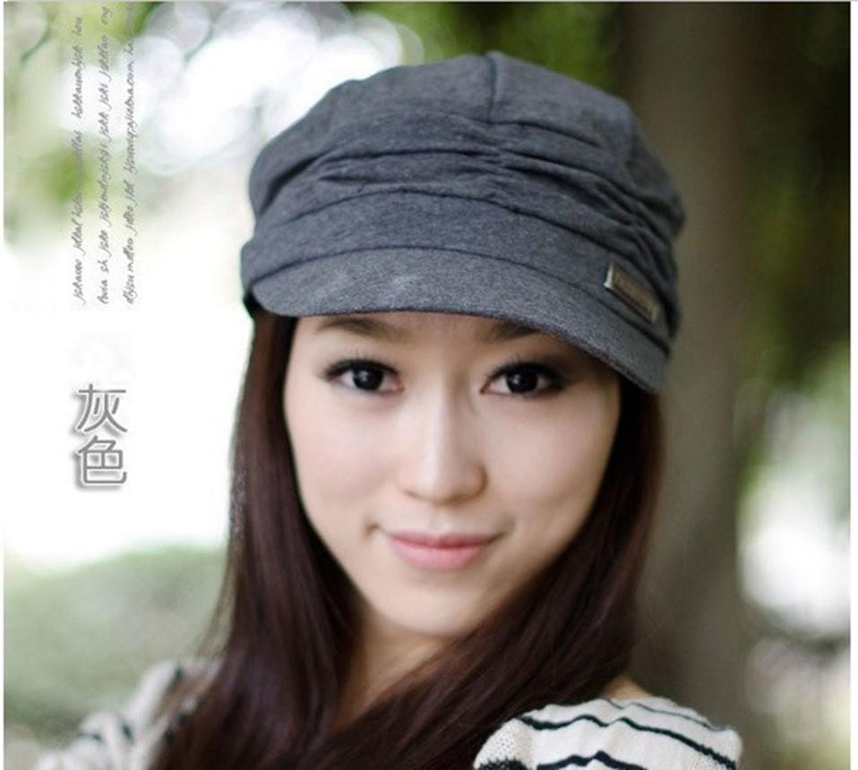 百搭韩版酷褶皱贝雷帽女士 帽子韩版潮秋冬天平顶帽鸭舌帽子