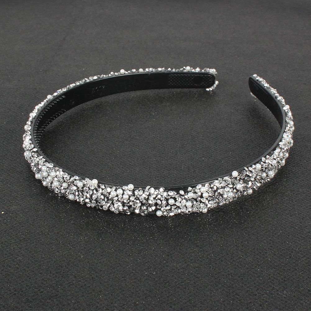 Fashion Grey Diamond Blue Pearl Resin Diamond-studded Headband