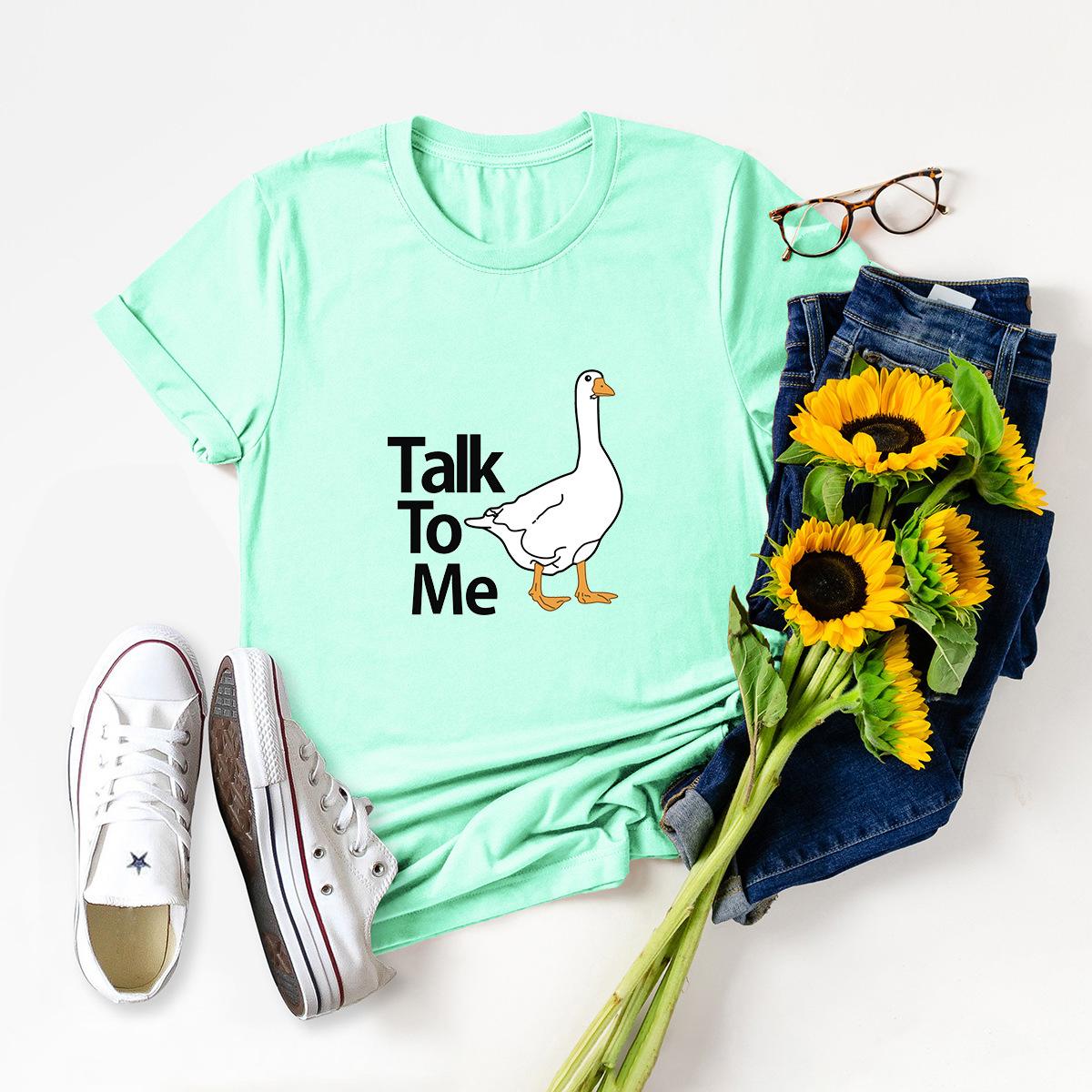 casual duck print short-sleeved women's T-shirt NSSN1790