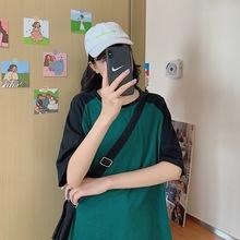 寬松大碼中長款T恤女夏純棉 2020新款韓范拼接撞色半截袖休閑上衣