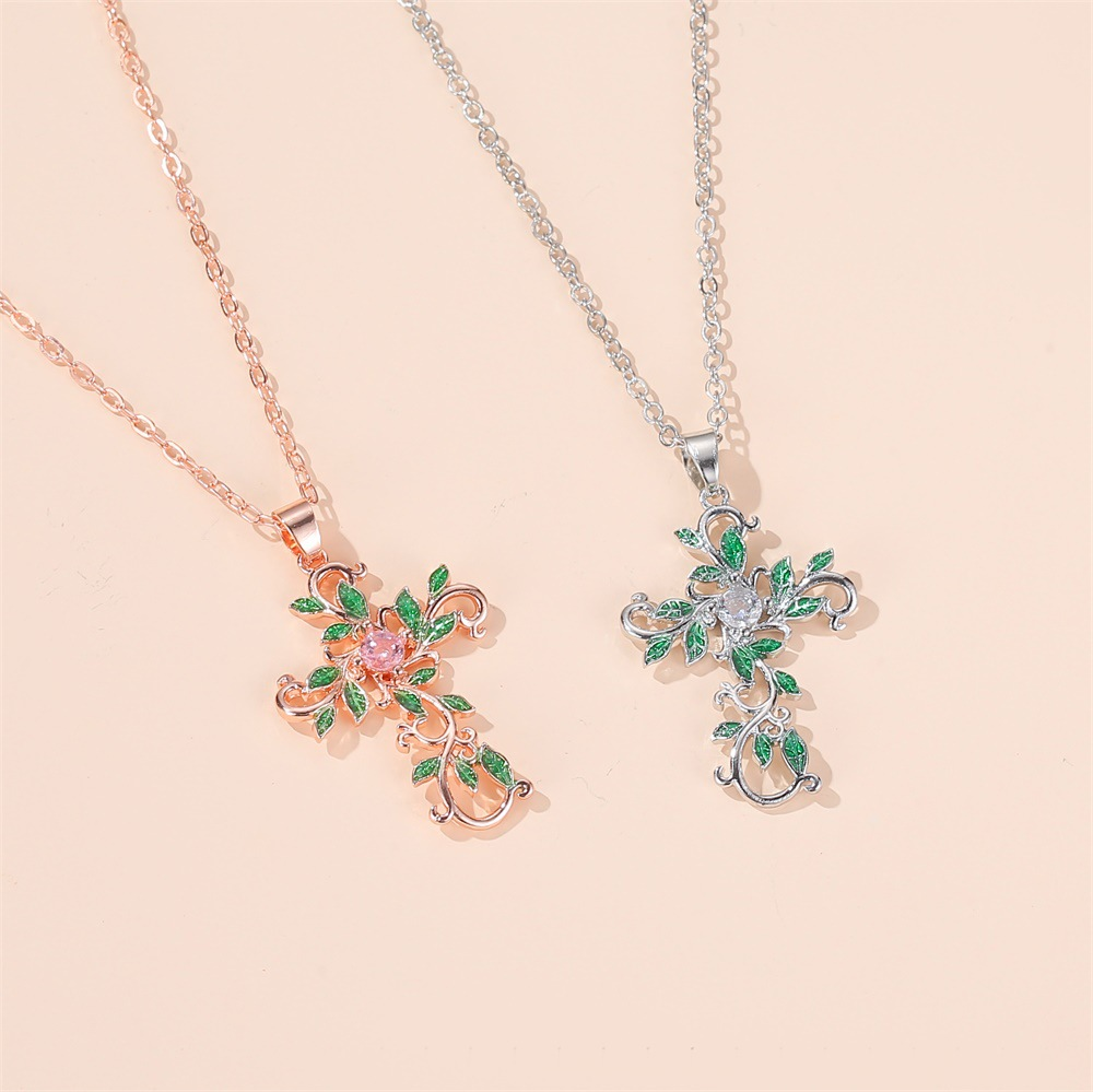 New Necklace Temperament Diamond Clavicle Chain Christian Flower Cross Necklace Clavicle Chain wholesale nihaojewelry  NHMO219002